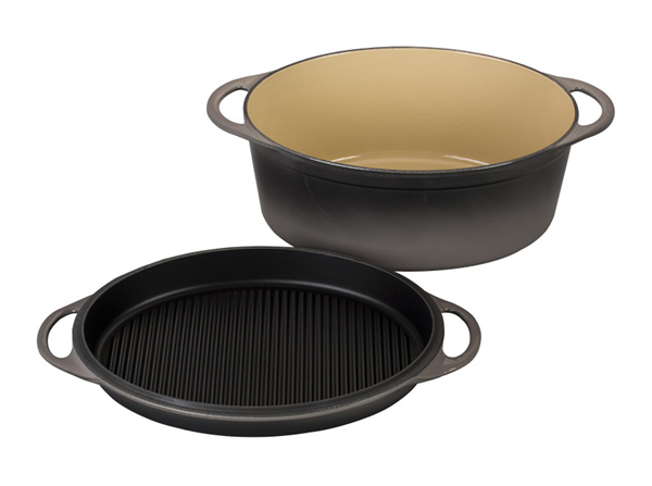 Le Creuset Oval 7 25 Quart Dutch Oven With Grill Pan Lid