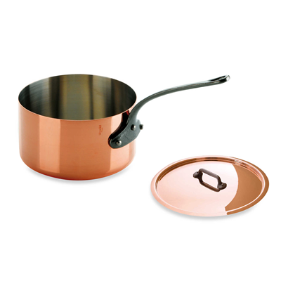 Mauviel M'Heritage Copper 2.7-Quart Sauce Pan and Lid with Cast Iron Handle