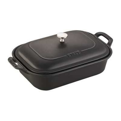 Staub Ceramic Rectangular Covered Baking Dish - Matte Black