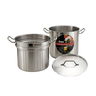 Winco Stainless Steel 8 Qt. Steamer/Pasta Cooker with Lid