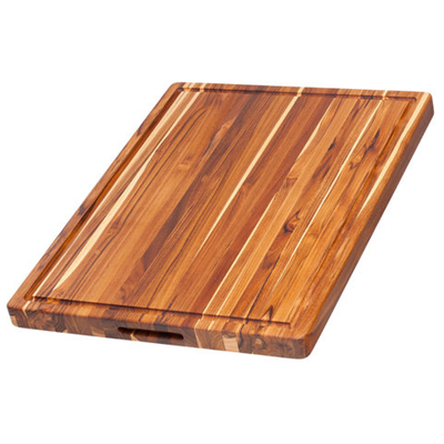 Rectangle Edge Grain Cutting Board with Hand Grip and Juice Canal 24 x 18 x 1.5