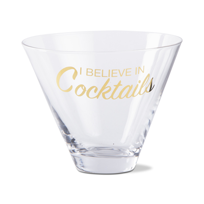 "TAG ""Believe In Cocktails"" Stemless Martini Glass"