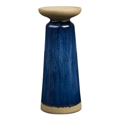 Glazed Tall Pillar Candle Holder - Blue