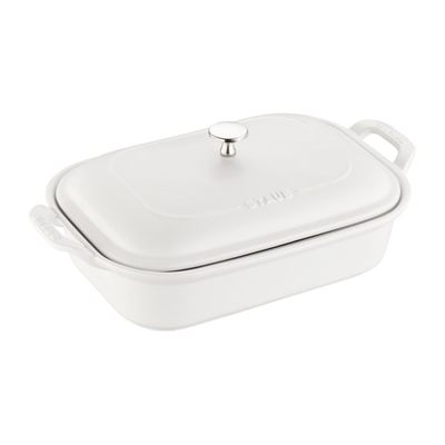 Staub Ceramic Rectangular Covered Baking Dish - Matte White