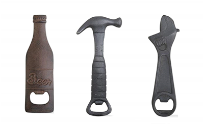 TAG Cast Iron Bottle Openers: Hammer, Wrench and Bottle