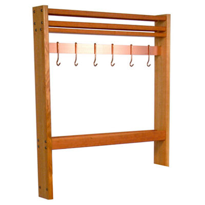 "John Boos Pot Rack for Pro Prep Block - 36"" Size Copper flat Bar with Hooks"