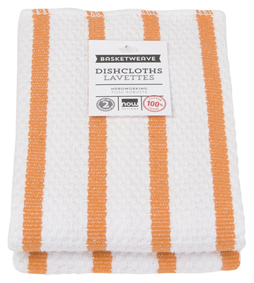 Now Designs Basketweave Kitchen Dishcloth - Kumquat Orange