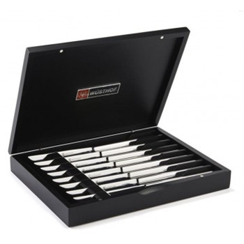 Wusthof 8 Piece Stainless Steel Steak Knife Set Black Box