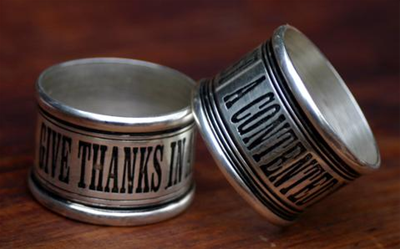 Give Thanks Napkin Rings Set 4