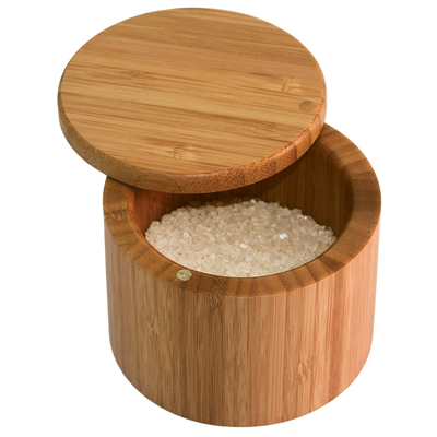 Totally Bamboo Round Salt Box with Magnetic Lid