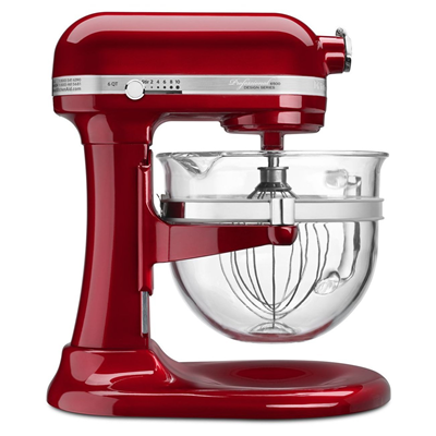 KitchenAid 6 Quart Professional 6500 Stand Mixer- Glass Bowl - Candy Apple Red
