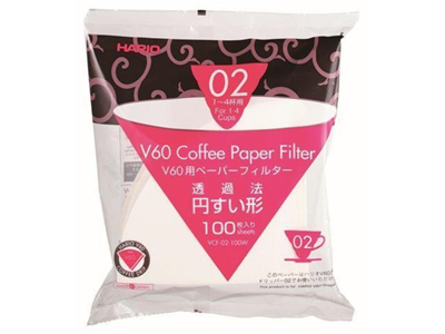 Hario V60 Dripper Coffee Paper Filters, White - Pack of 100