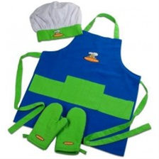 Curious Chef 4-Piece Child Chef Textile Set (Blue / Green)