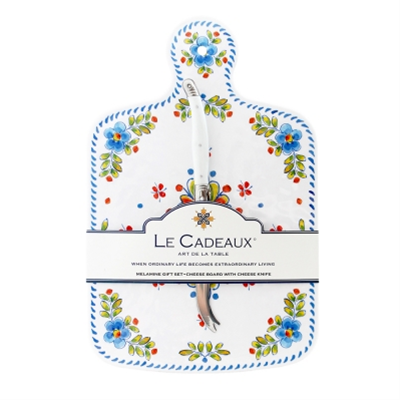 Le Cadeaux Cheese Board & Laguiole Cheese Knife Gift Set - Madrid White
