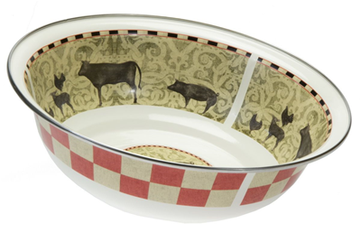 Golden Rabbit Enamelware Serving Bowl - Farm to Table