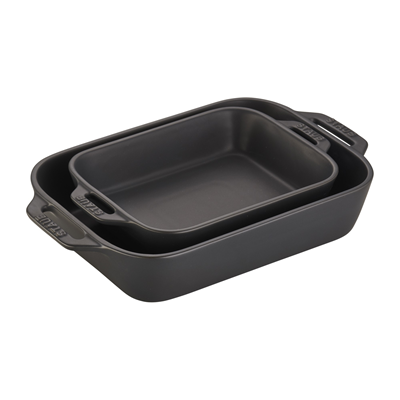 Staub Ceramic Rectangle Baking Dish Set, Matte Black - Set of 2