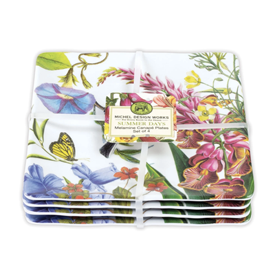 MDW Melamine Serveware Canape Plate Set - Summer Days - Set of 4