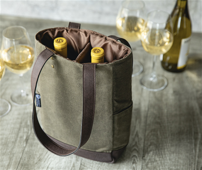 2 BOTTLE INSULATED WINE COOLER BAG, (KHAKI GREEN WITH BEIGE ACCENTS)