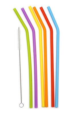 "RSVP 10"" Silicone Straws (Pack of 6) with Cleaning Brush"
