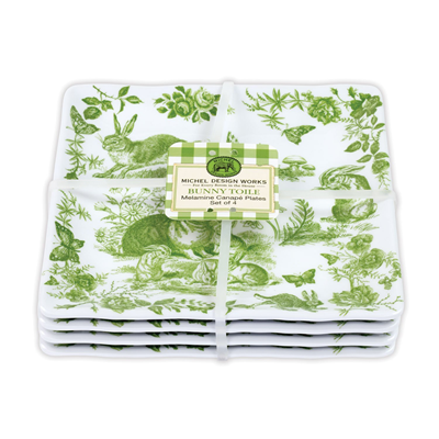 MDW Melamine Serveware Canape Plate Set - Bunny Toile - Set of 4
