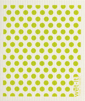 Wet-It Swedish Dishcloths - Green Dots (Small)