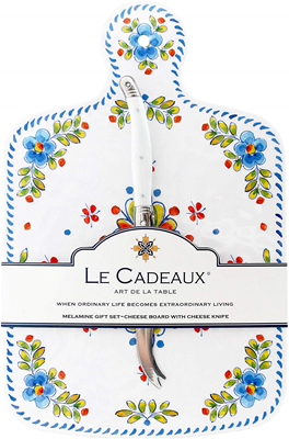 Le Cadeaux Madrid White Cheeseboard & Laguiole Cheese Knife Gift Set